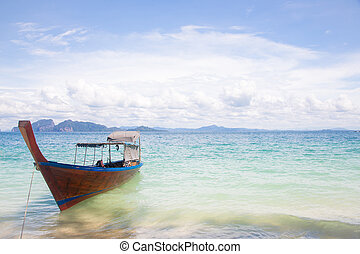 Long Tail Boat on beach - Long Tail Boat at tropical White...