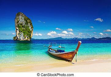 Tropical beach, Andaman Sea, Thailand - Long tail boat, ...