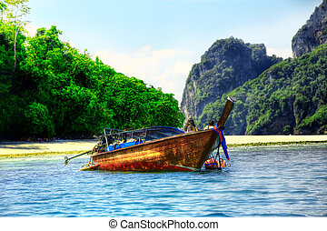 Long tailed boat in Asian tropical paradise