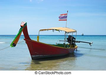 long-tailed, tailandés, barco, cerca, el, orilla