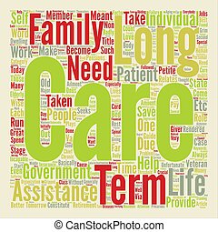 Long term assistance guide text background word cloud concept