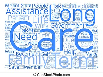Long term assistance guide Word Cloud Concept Text Background