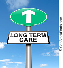 Long term care concept. - Illustration depicting a sign with...