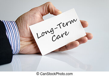 Long-term care text concept isolated over white background