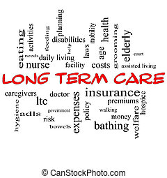 Long Term Care Word Cloud Concept in Red Caps - Long Term...