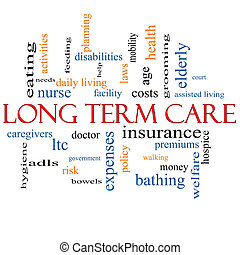 Long Term Care Word Cloud Concept with great terms such as insurance, policy, costs, elderly, age and more.