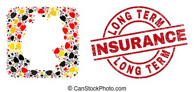 Long Term Insurance Textured Seal and German Map Stencil Mosaic of Horned Helmet Icons in German Flag Colors