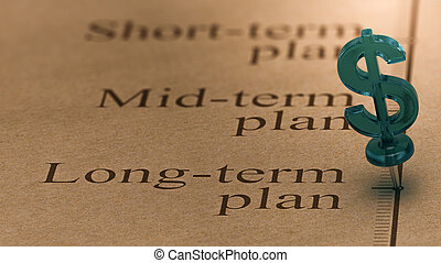Long Term Investment Plan - Dollar shaped pushpin, pined on...