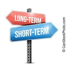 long-term, short-term road sign illustration design over a white background