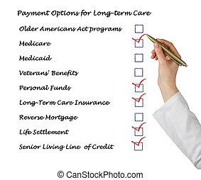long terme, options, paiement, soin