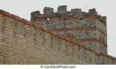 Long Theodosian Walls of Constantinople and a large turret -...