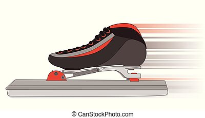 long-track speed skates in motion on a white background