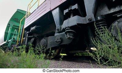 long, transport, 4k, voitures, équitation, cargaison, utilisé, transportration., vidéo, train, utilisation, chemins fer, concept, grand, charbon