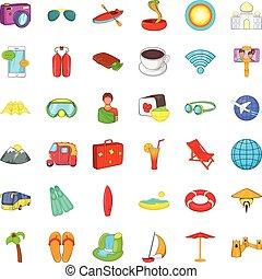 Long travel icons set, cartoon style