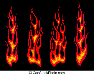 Long tribal flames - Set of long tribal fire flames for...