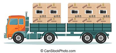 Long truck with cargo goes