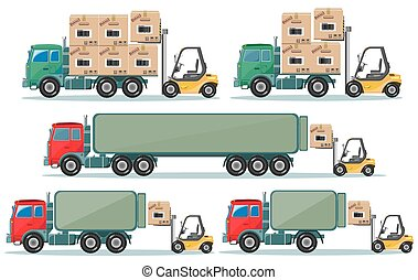 Long truck with cargo goes to the warehouse, vector...
