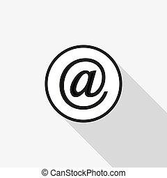long, vecteur, fond, courrier, ombre, icône