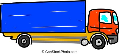 long vehicle style lorry isolated on white drawn in toddler art style