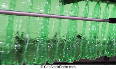 long, vide, usine, mouvement, plastique, boisson, bouteilles...