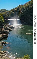 Cumberland Falls - Long view of Cumberland Falls, Corbin,...