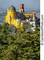 Long view of Palace da Pena. Sintra, Lisbon. Portugal