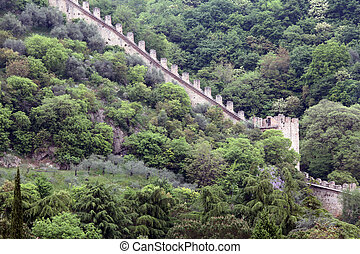 Long walls of the castle of Marostica in Italy