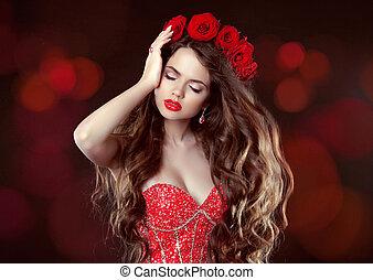 Long wavy Hair. Makeup. Beautiful Woman with roses. Beauty...