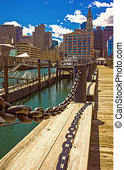 Long Wharf and Custom House and Financial District in Boston