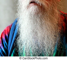 Long white beard.