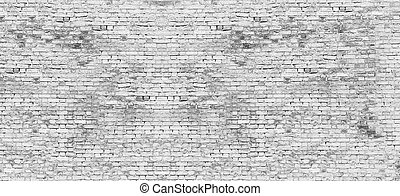 Long white brick wall - Texture of long white brick wall