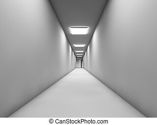 Long white corridor with the door at the end.