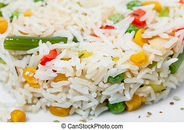 Long white rice with vegetables.