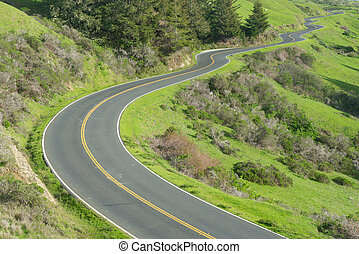 Long, Winding road along the Pacific Coast Highway