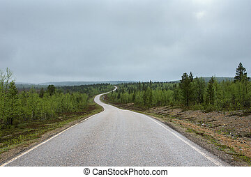 Long winding road through the forests in Lapland during summer.