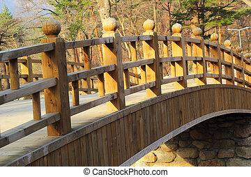 Long wooden bridge at Seoraksan Korea.