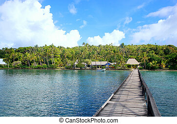 Long wooden pier at Nananu-i-Ra island, Fiji