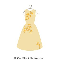 Long yellow dress with branch pattern on hanger