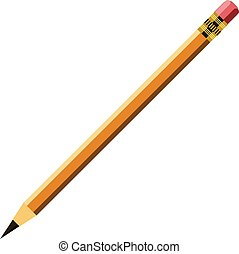 Long yellow wooden pencil