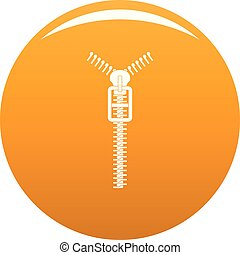 Long zip icon vector orange