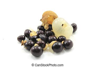 longan - exotic fruit on white background