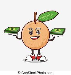 longan, geld, hände, fruechte, maskottchen, karikatur, zeichen