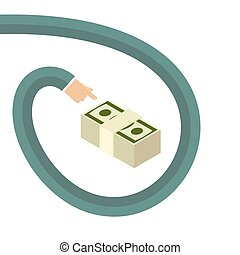 Longarm shows for money. As a gesture of the hand. Vector illustration