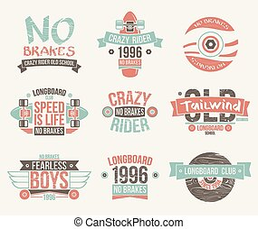 Longboard club emblems - Longboard club emblems. Graphic...
