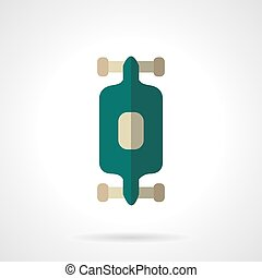 Longboard flat color design vector icon