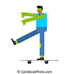 longboard., illustrazione, zombie, vettore, verde, morto, skateboard.