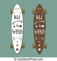 Longboard skateboard, vector template with lettering