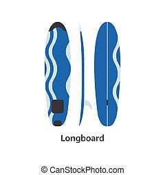 Longboard Surfing Desk Illustration