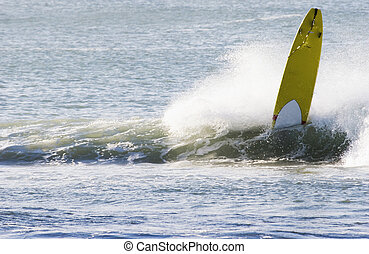 Longboard wipeout - Surfing the break at Haumoana Beach,...