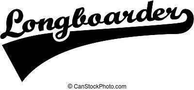 longboarder, fuente, retro